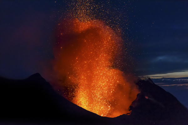 italy aeolian islands stromboli volcanic eruption