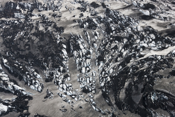 aerial view of landscape with glacier