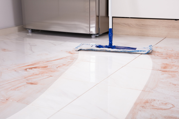 mop in kitchen cleaning dirty floor