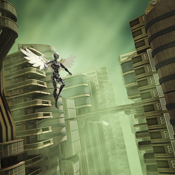 robot angel flying in futuristic city
