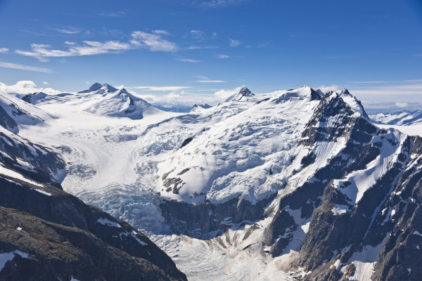 aerial view of a hanging glacier