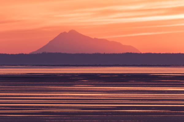 colorful sunset along turnagain arm at