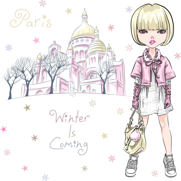vector fashion girl in winter clothes