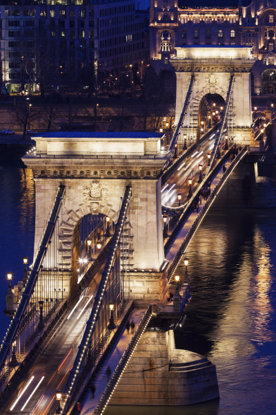 elevated view of chain bridge at