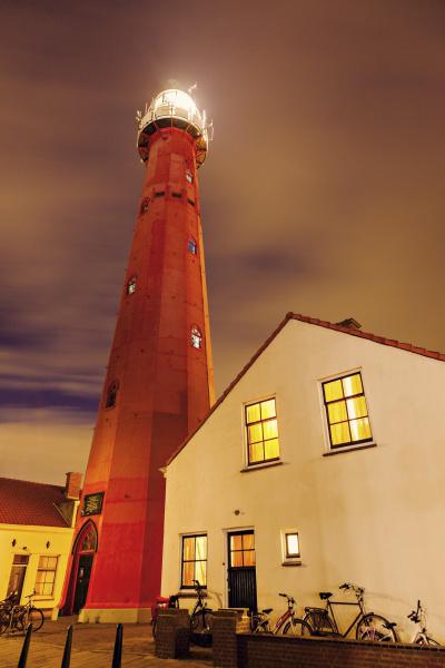 view of scheveningen lighthouse at sunset