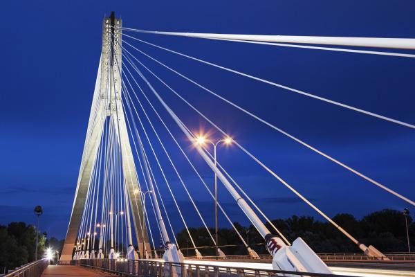 tower and cables of illuminated swietokrzyski
