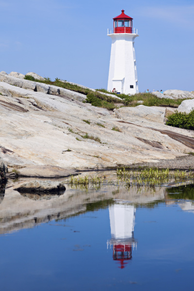 peggys point lighthouse reflecting in water