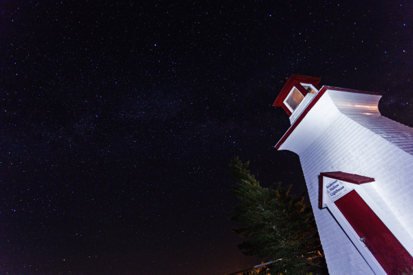 low angle view of white lighthouse