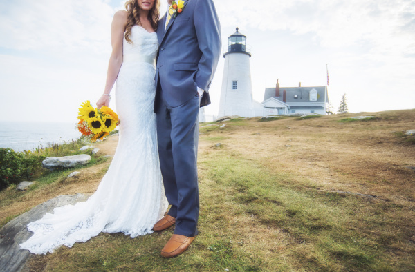 low section of married couple lighthouse