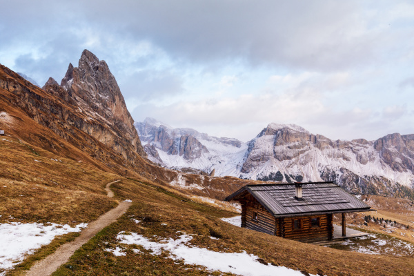 wooden cottage in dolomities alps italy