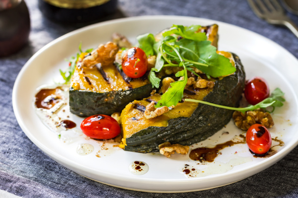 grilled pumpkin with cherry tomato and