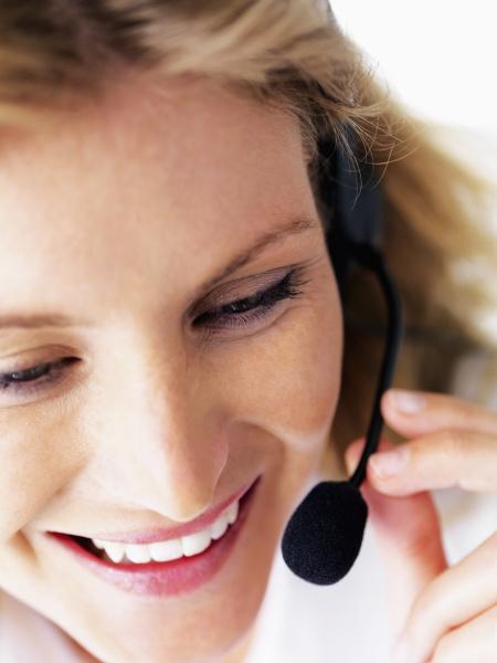 receptionist wearing headset