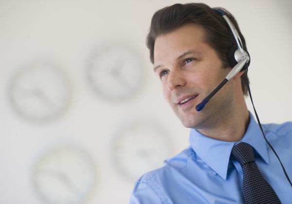 portrait of male customer service representative