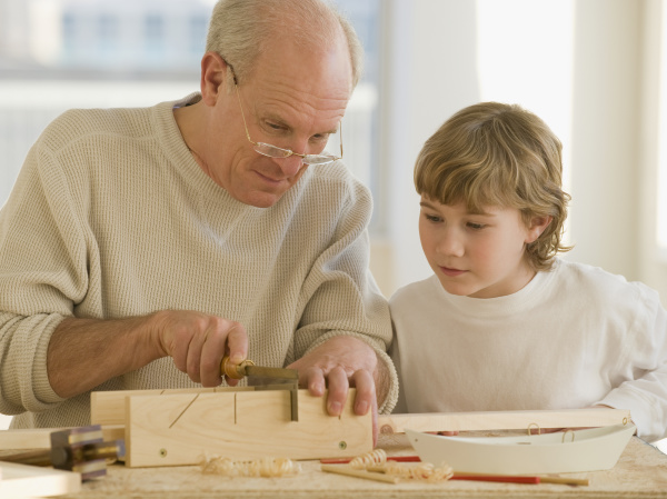 grandfather and grandson woodworking