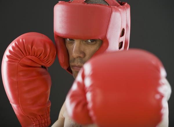 close up of hispanic male boxer