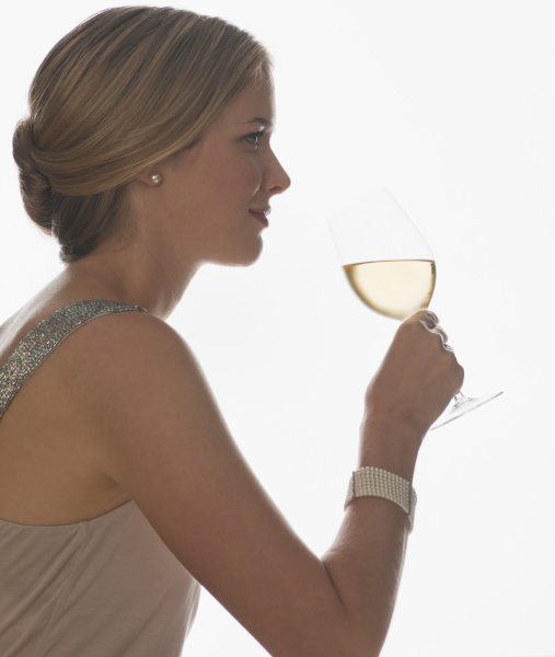 sophisticated woman drinking wine