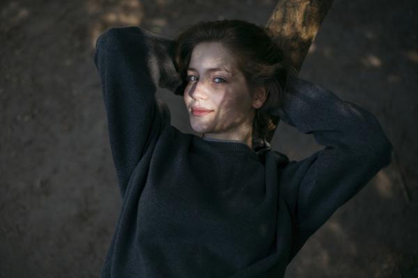portrait of smiling caucasian teenage girl