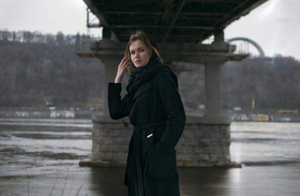 caucasian, woman, standing, under, bridge, near - 24088780