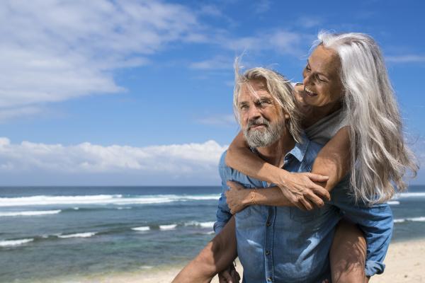 handsome senior couple having fun at