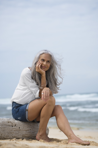 beautiful senior woman sitting at the