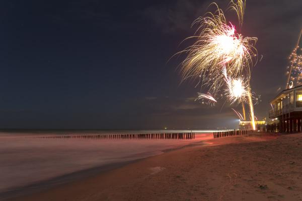 coastal fireworks scenery