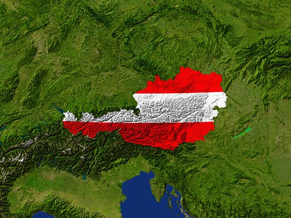 satellite image of austria is fowed