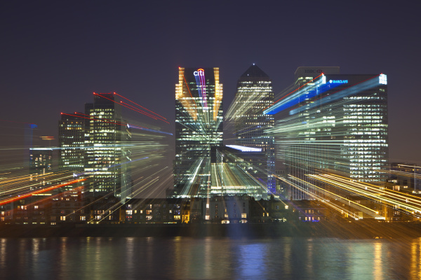 financial district canary wharf seen over