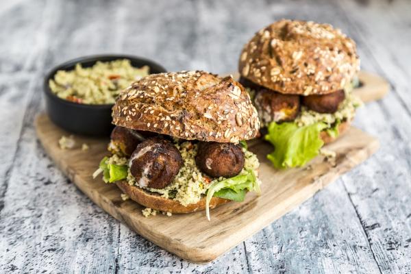 falafel burger with tabbouleh