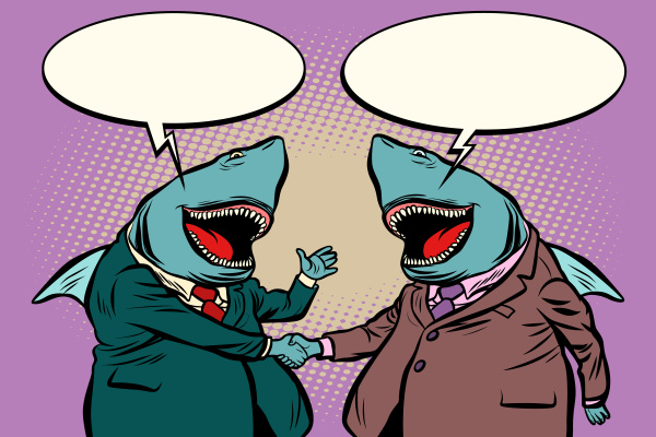 business sharks talk to each other