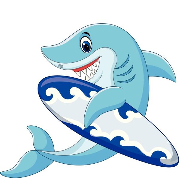 cartoon shark holding surfboard