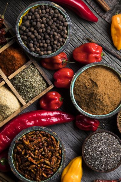 spice still life wooden bowl