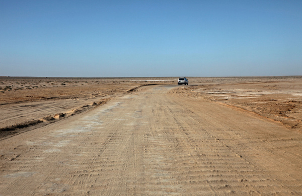 road in a stone desert and