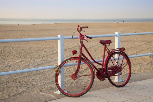 bicycle and sandy beach scheveningen the