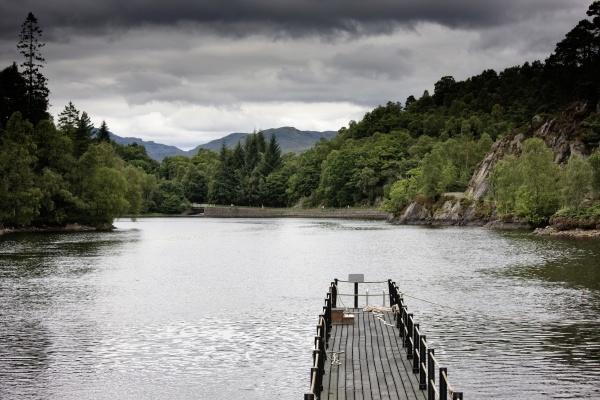 scotland wooden pier over lake