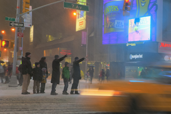 hailing a cab during winter storm