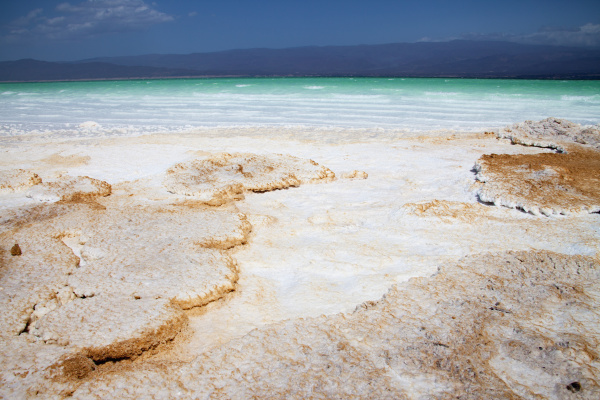 salt deposits at lowest point in