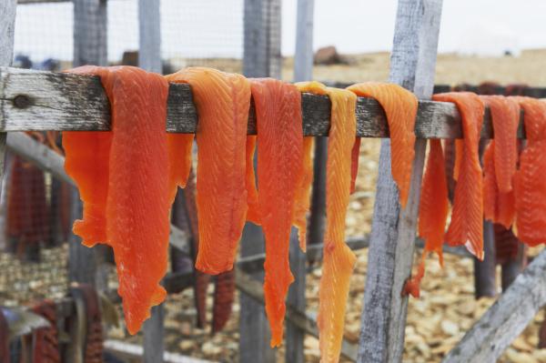 arctic char filets on drying racks