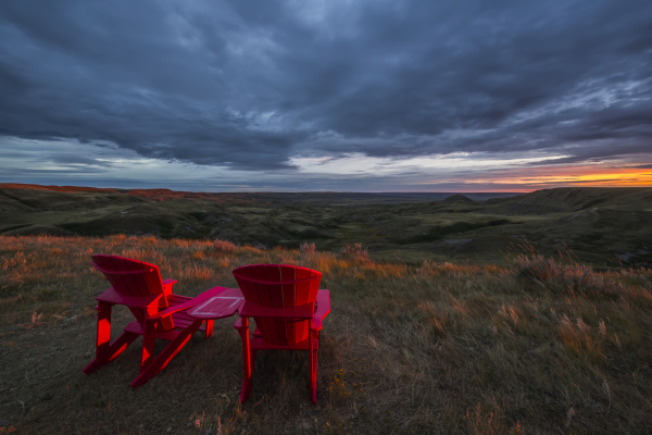 red chairs overlooking grasslands national park