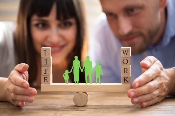 couple protecting balance between work and