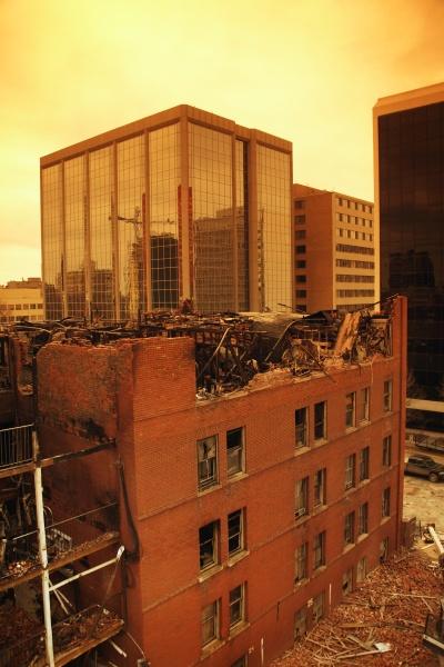 demolition of a burned building