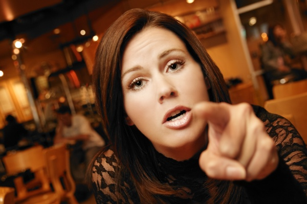 woman pointing
