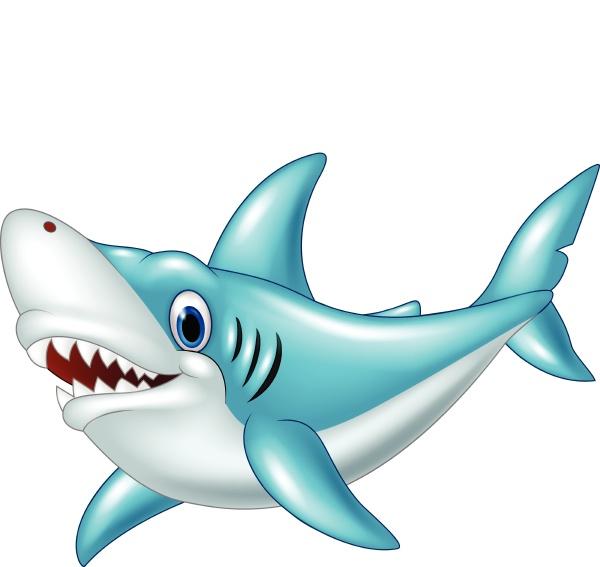 stylized cartoon angry shark on a