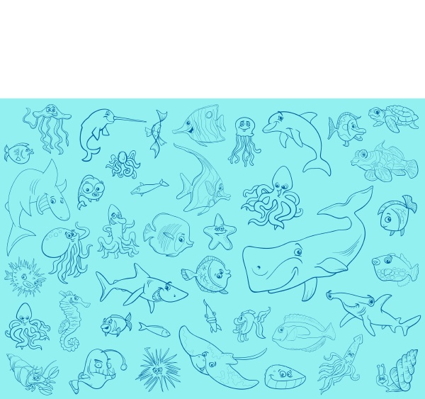 sea life animals background pattern