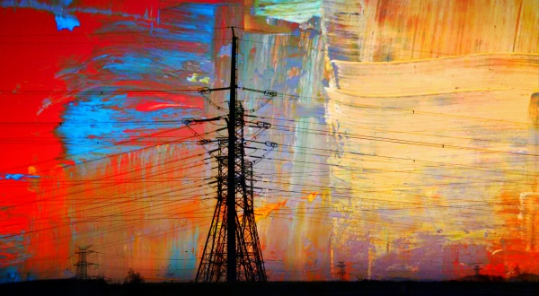 landscape with electric power lines colorful