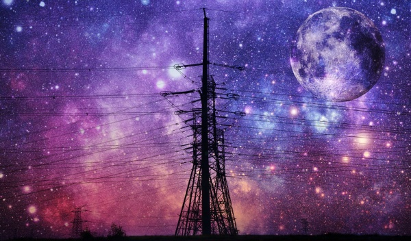 power lines and night sky with