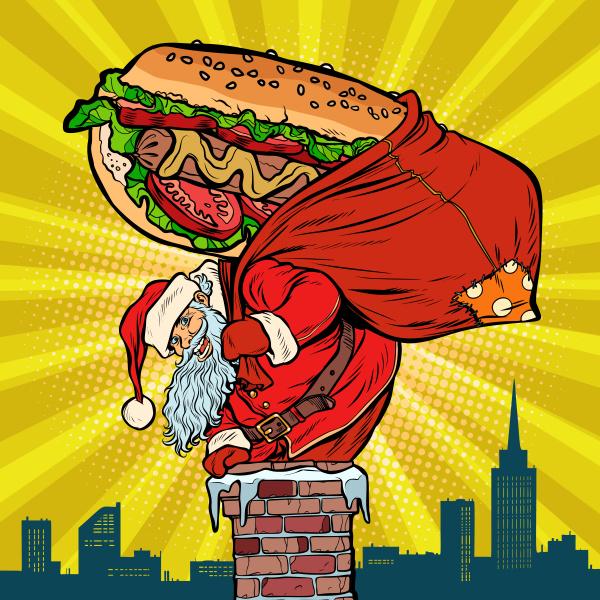 santa claus with a hot dog