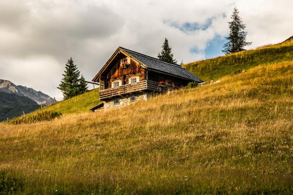 panorama alpine valley on a beautiful