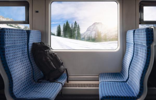 train seats and winter scene on