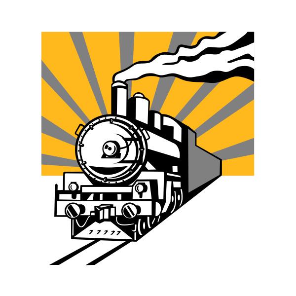 steam train locomotive sunburst retro