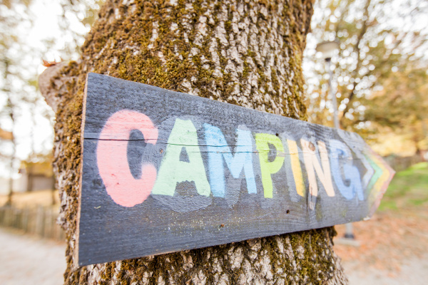 wooden camping sign